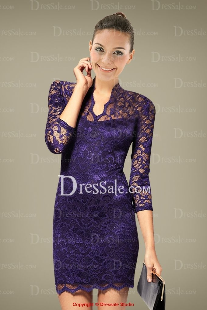 Luxurious Sheath Cocktail Dress with All Exquisite Lace Cover ...