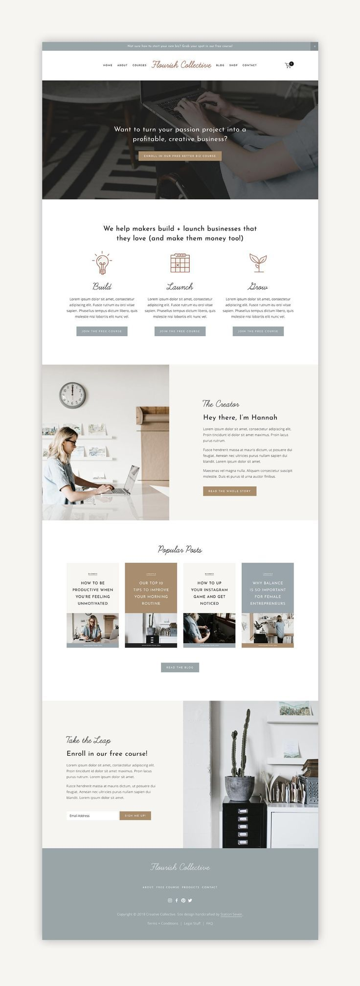 Flourish Squarespace Kit — Station Seven: Squarespace Templates, WordPress Themes, and Free Re
