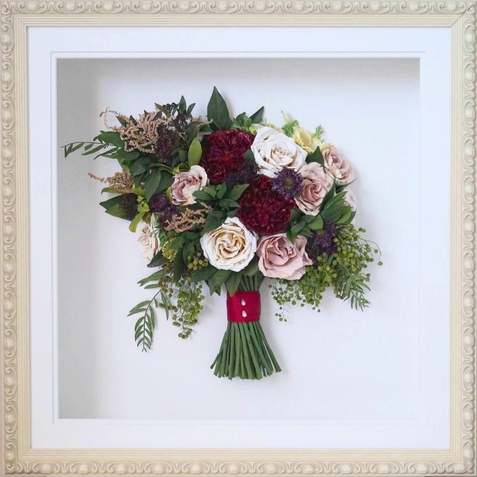 Whole Foods Wedding Bouquet: Preserved And Framed Wedding Bouquet. Dried Flowers That