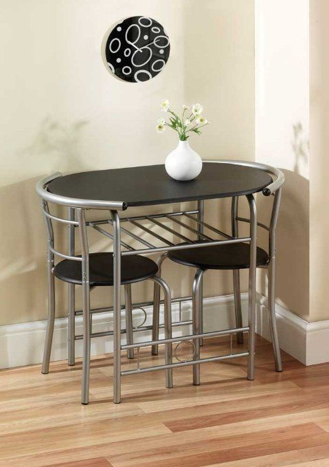 Compact Dining Set Black Dining Table Chairs Apartment Kitchen Flat Students Hmos Amazon Small Kitchen Tables Space Saving Dining Table Small Table And Chairs