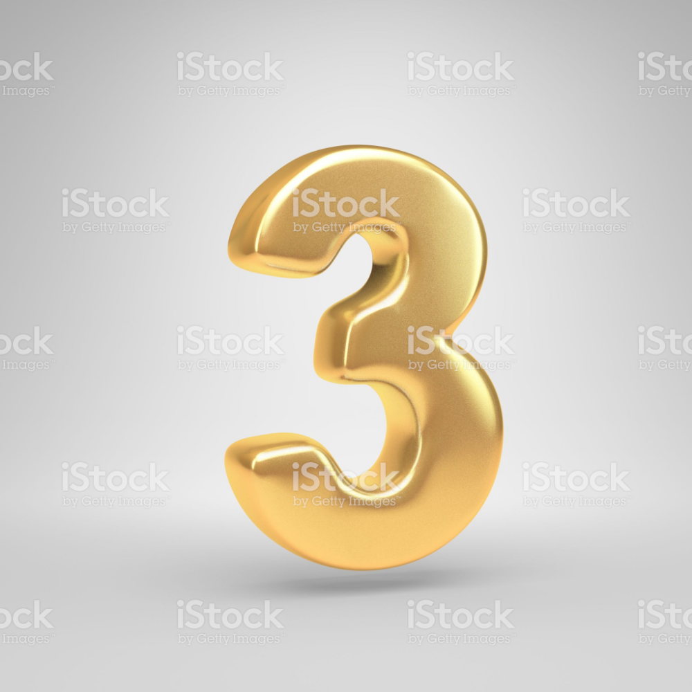 Bright Gold Number 3 3d Render Shiny Golden Font Isolated On White Alphabet Photos Stock Images Free White Background
