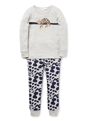 100% Cotton 1x1 Rib long sleeve pyjamas featuring sleeping ocelot print on top. Long john style pants with all over ocelot yardage print.