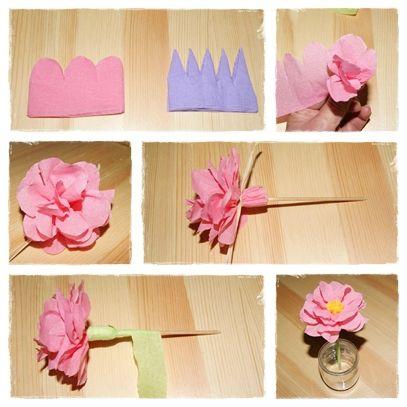 Faire Une Fleur En Papier Crepon Papillon Pinterest Crepon