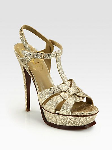 f6b40c85af1 Yves Saint Laurent - Metallic Leather Tribute Platform Sandals - Saks.com