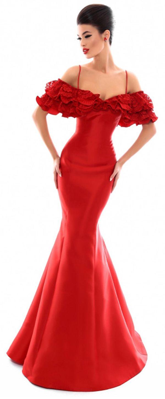 Winsome satin spaghetti straps neckline mermaid prom dress wedding