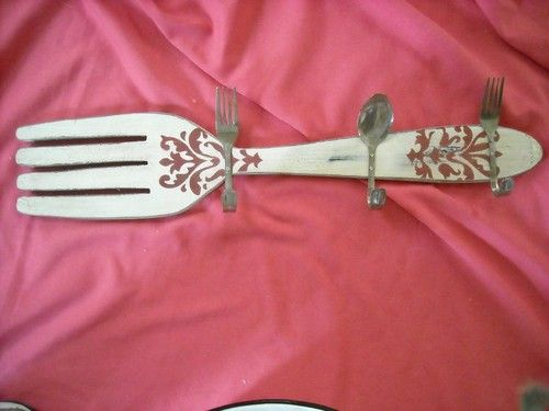 "big wood fork hanger hook display kitchen decoration UNIQUE 24"" $15 free ship"