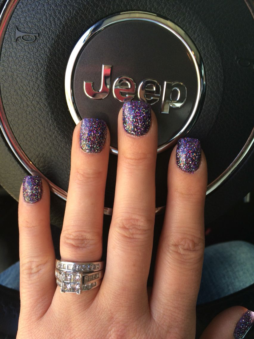 Purple Sparkle Anc Nails Custom Color With Galaxy Sparkles With