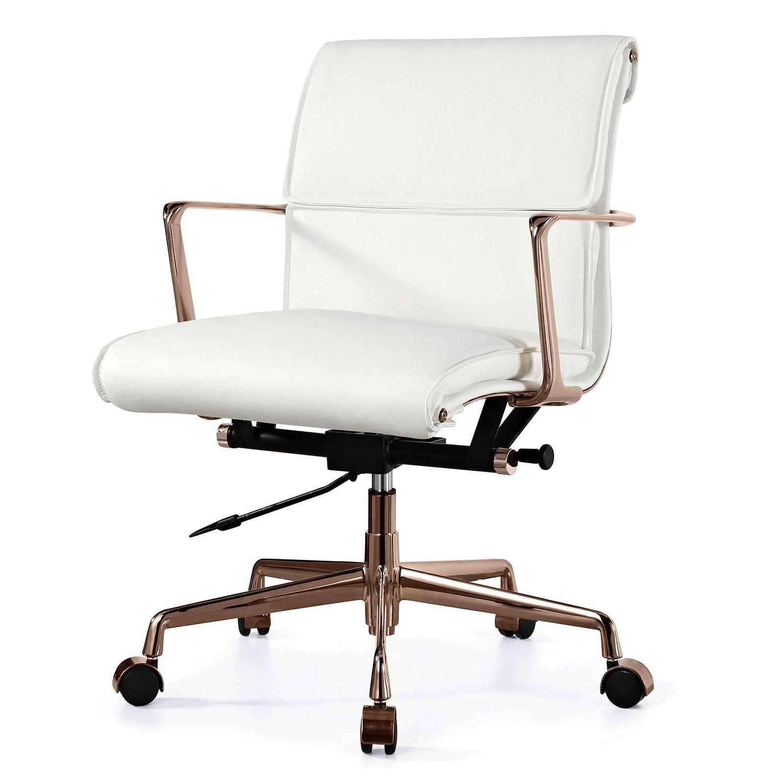 sharp white on rose gold swivel chair