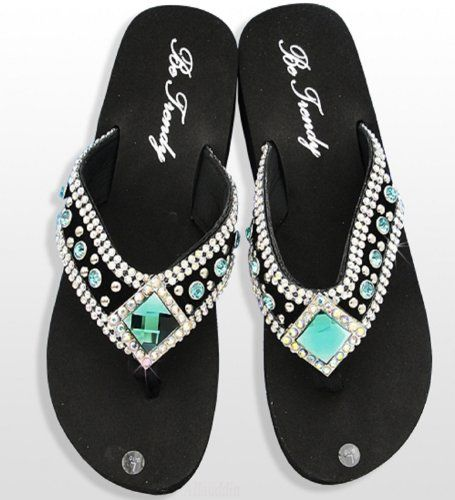 a2d42c6f2cab9 Blue Diamond Rhinestone Flip Flops Be Trendy http   www.amazon.com