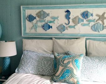 Pin By Rajesh Vythi On Beach House Decor In 2020 Beach Bedroom Decor Wood School Fish Wall Art