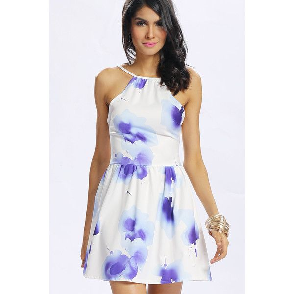 dc82244d687e1 Yoins White Halter Neck Ink Print All Over Backless Zip Back Dress ...