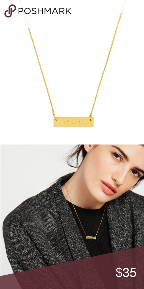 """Ice Morse Code Initial Pendant A subtle approach to the initial trend, this minimal pendant features a metallic bar embellished with crystals in secretive Morse code dashes and dots. Brand new without tags. Letter: D Closure: Lobster clasp Materials: 14k gold plated metal, glass Measurements: Length: 15.5"""" with 2"""" ext Bauble Bar Jewelry Necklaces"""