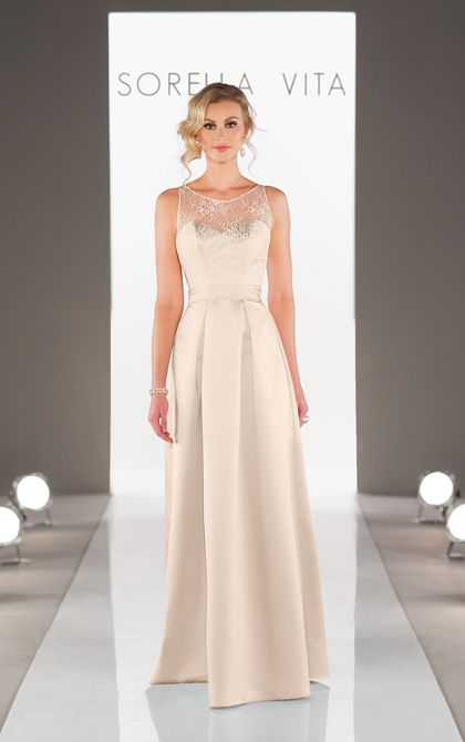 Elegant floor length satin bridesmaid dresses featuring a lace illusion neckline with detachable satin fabric sash.