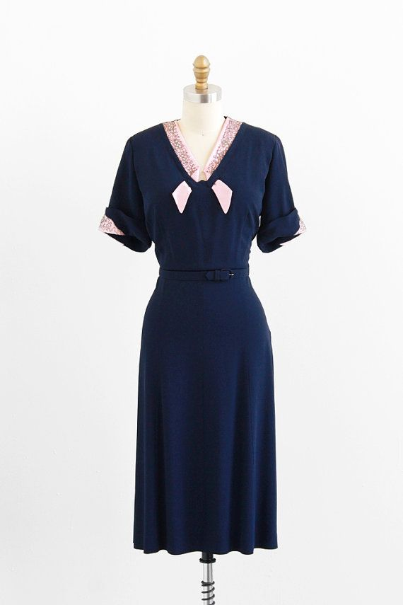 R E S E R V E D Vintage 1940s Plus Size Dress 40s Plus Size