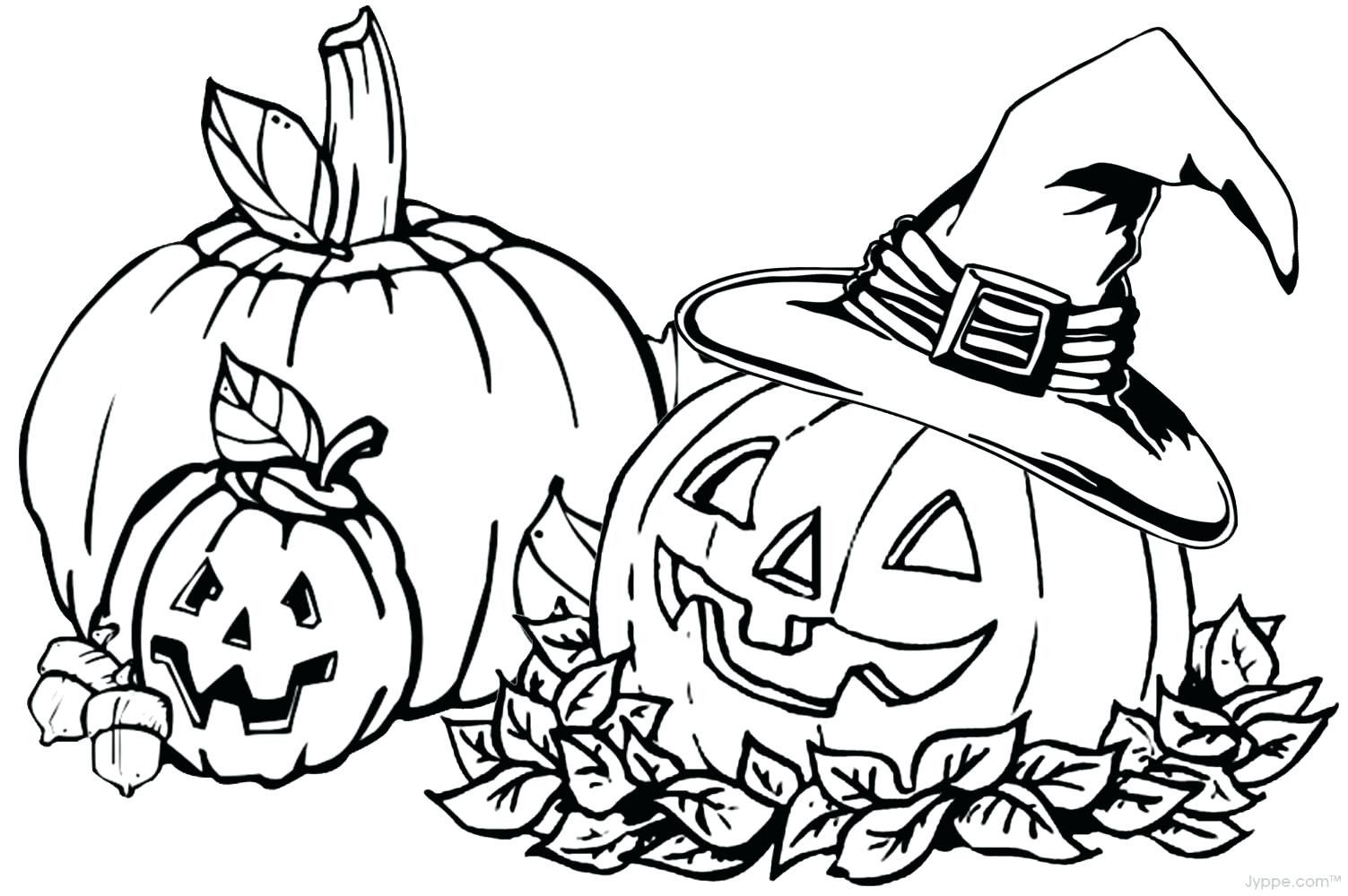 Printable Fall Coloring Pages Pumpkin Leaves Template Fall
