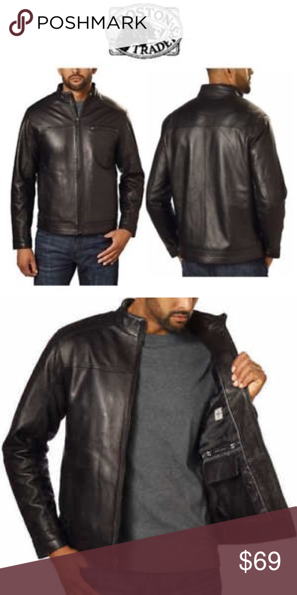 c4dd23d8f38 Boston Harbour Men s Genuine Leather Jacket Boston Harbour Men s Genuine  New Zealand Lambskin Leather Jacket • 100% Leather Shell • Full zip front  closure ...