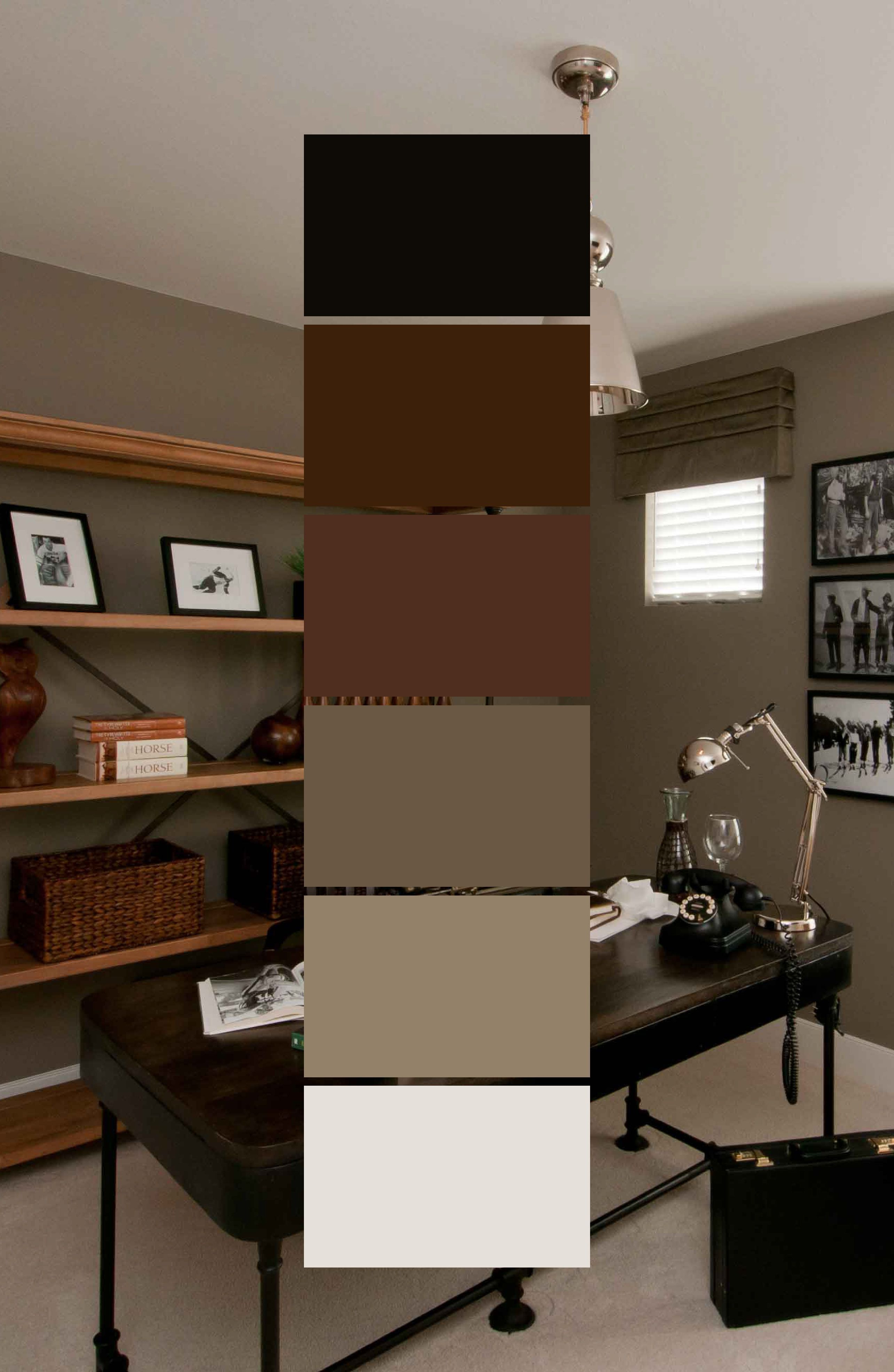 Even An Office Deserves Some Colour Palette Thought This Office Goes For A Brown Wall Colour That Furniture Color Schemes Brown Living Room Decor Brown Walls