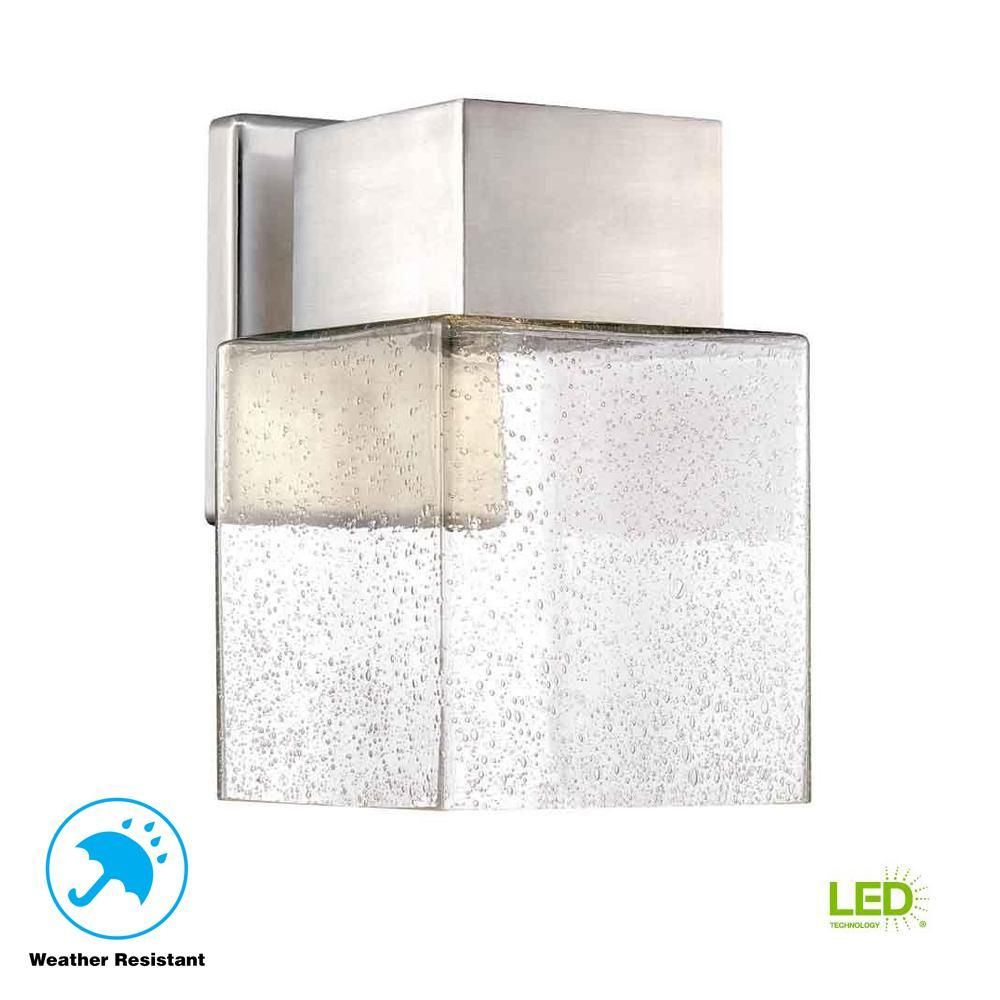 Home Decorators Collection Essex Brushed Nickel Outdoor Led Powered Wall Lantern Wall Lantern Outdoor Wall Mounted Lighting Outdoor Walls