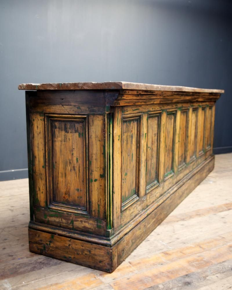 Lovely As A Kitchen Island! Painted Shop Counter , Antique