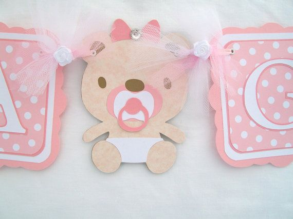 Pink teddy bear baby shower its a girl banner by Nancyscreations1, $24.99