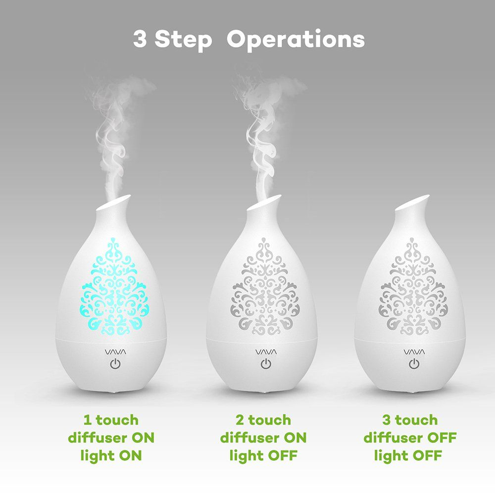 Essential Oil Diffuser Vava Aroma Diffuser With Unique Vase Design 8 Hour Cool Mist Ultrasonic Aromatherapy Humidifier Unique Vases Vase Design Aroma Diffuser