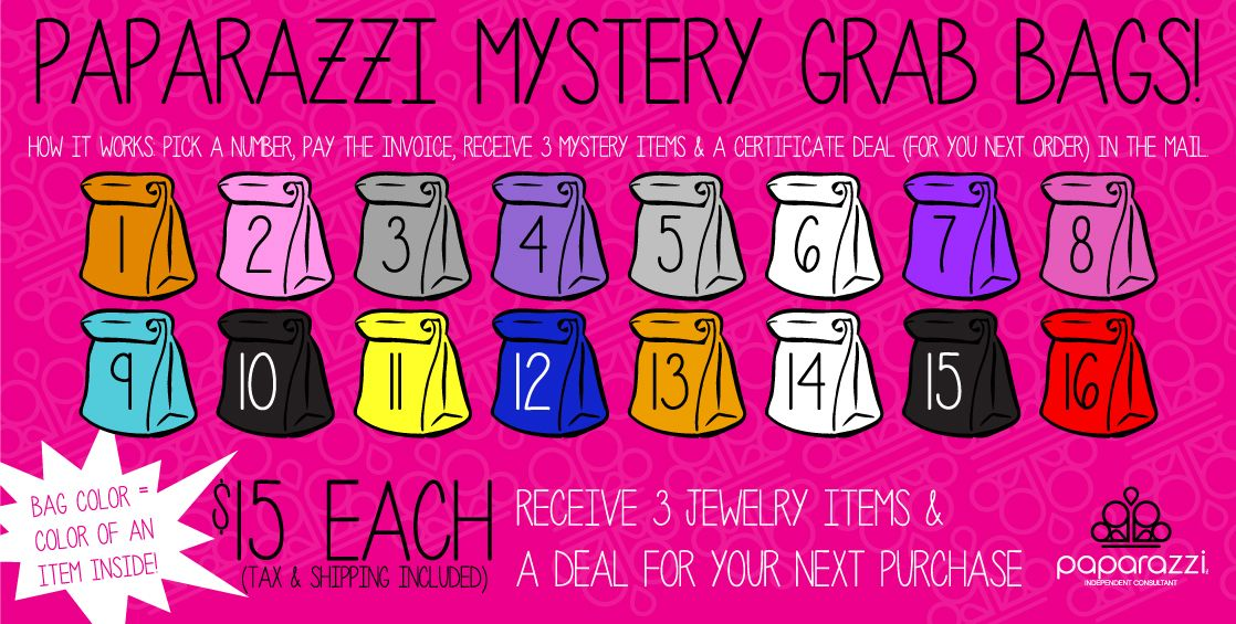 Mystery Grab Bags Colored Paparazzi Accessories Jewelry Bag