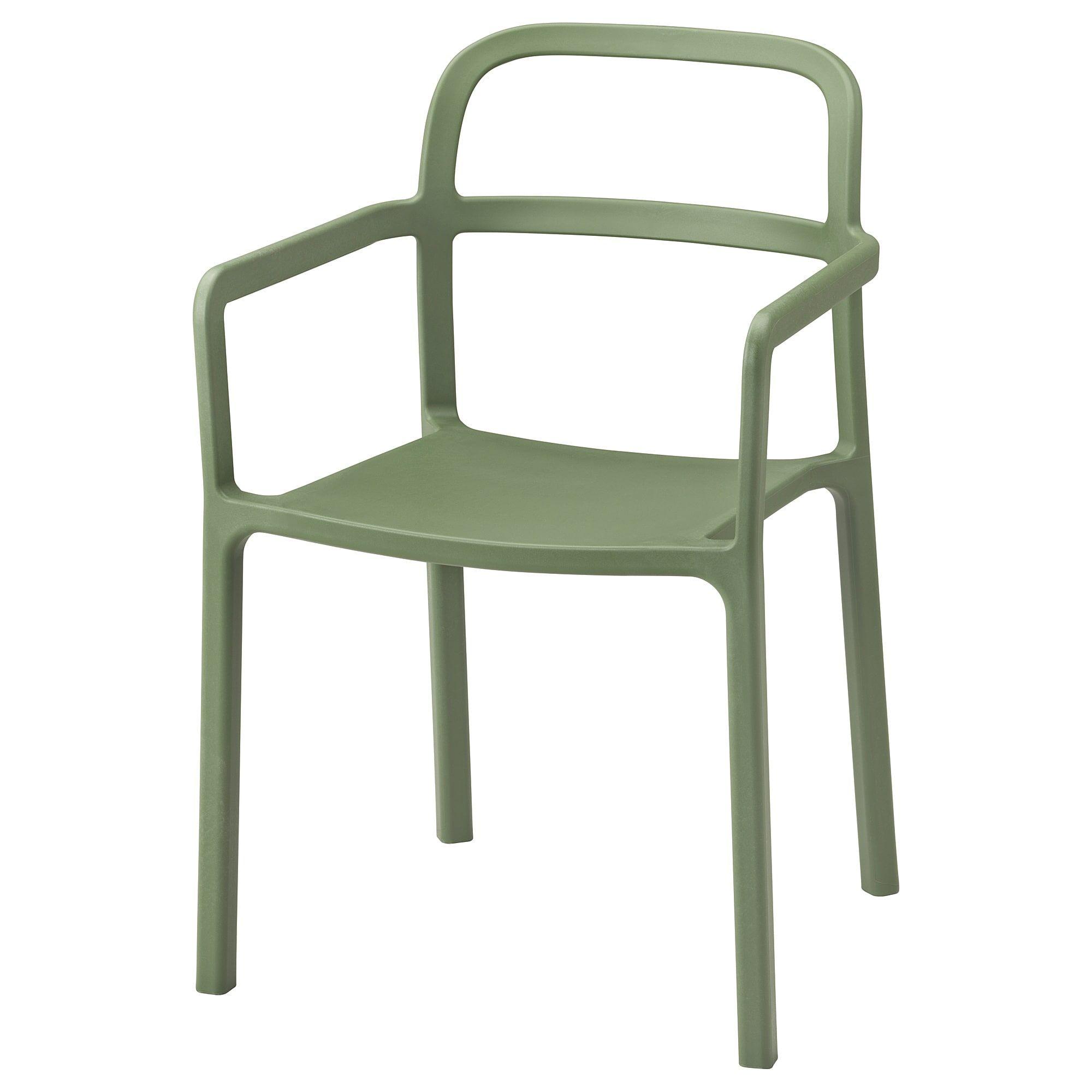 Ypperlig Chaise A Accoudoirs Int Exterieur Vert En 2020 Chaises De Cafe Ikea Et Chaise Design