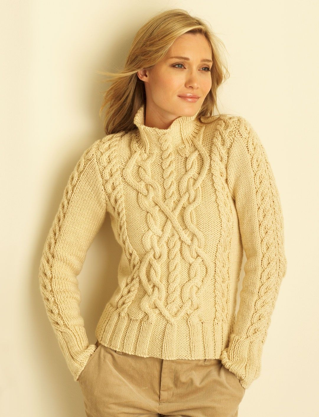 Knitting Patterns Sweater : Free pattern yarnspirations bernat cable sweater
