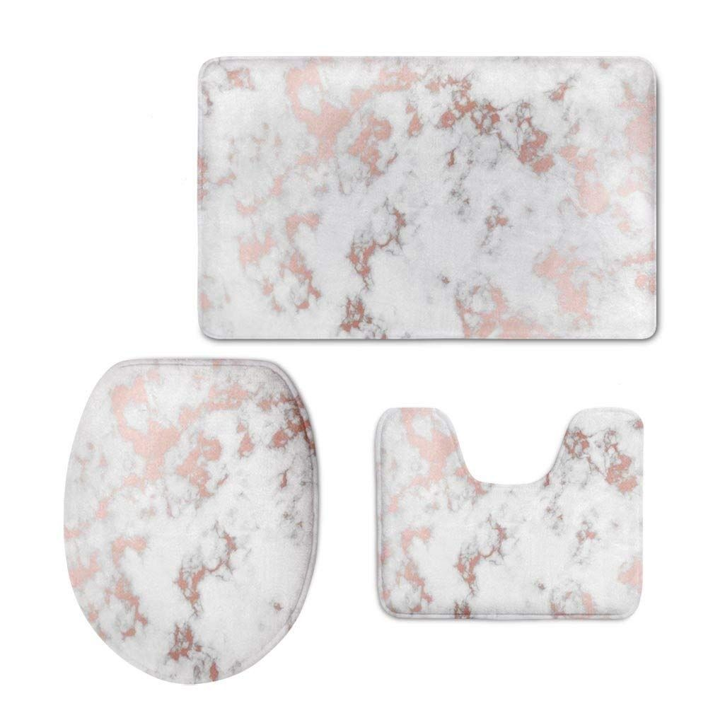 Rose Gold Marble 3 Piece Bathroom Rugs Set Bath Rug Contour Mat And Toilet Lid Cover Bathroom Rug Sets Bathroom Rugs Gold Bathroom Rugs [ 1001 x 1001 Pixel ]
