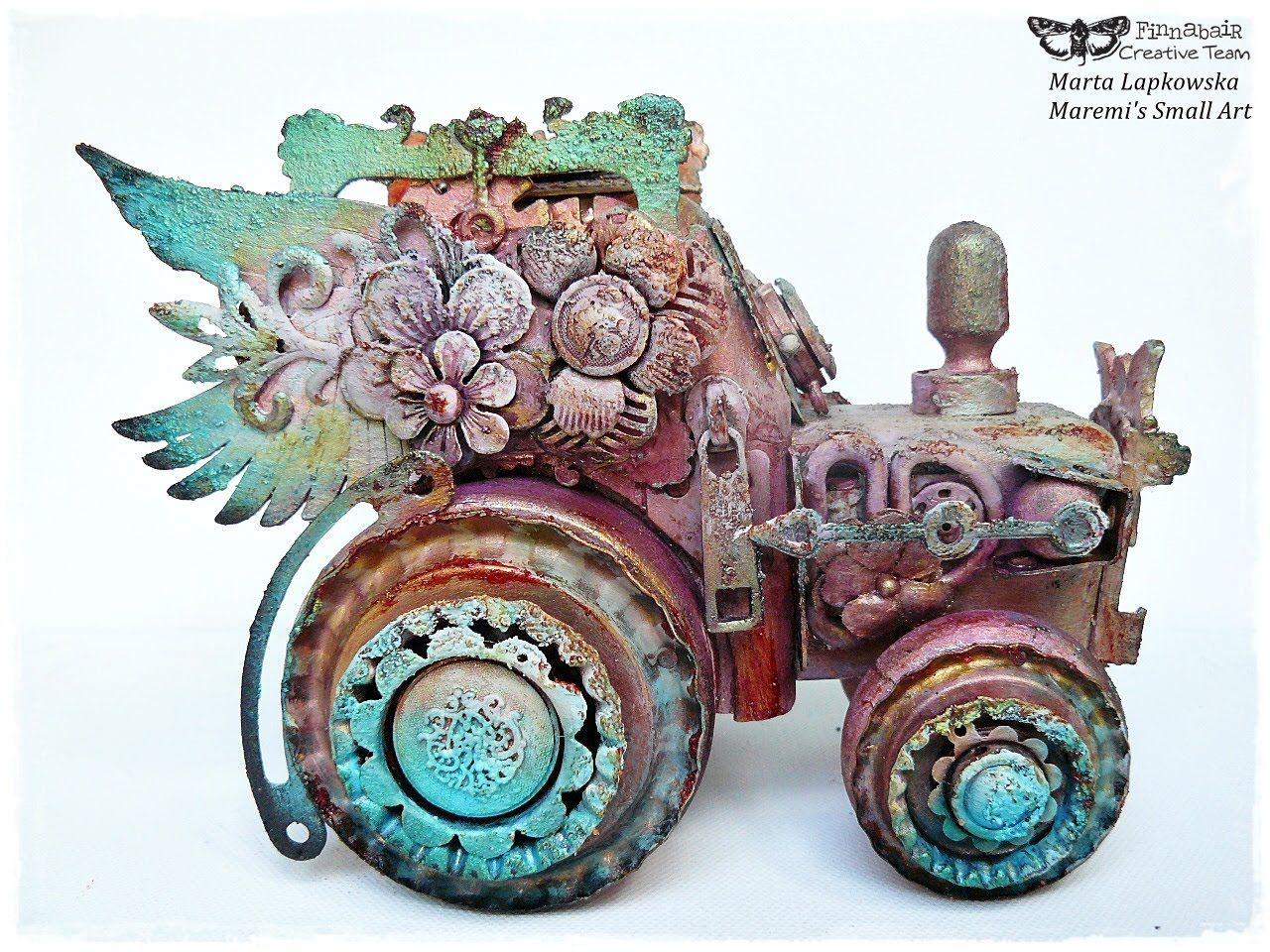 Altered Wooden Tractor by Marta