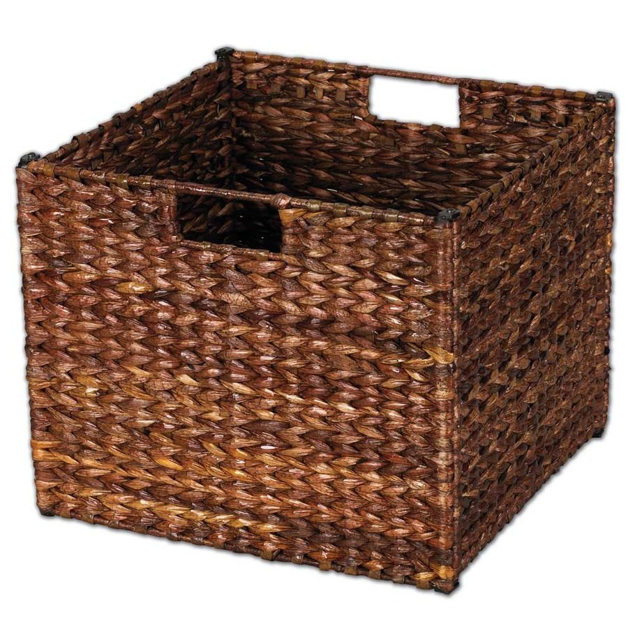 Household Essentials 13 In W X 11 In H X 13 In D Stained Brown Water Hyacinth Bin Lowes Com Cube Storage Baskets Leaf Storage Wicker Storage Bins