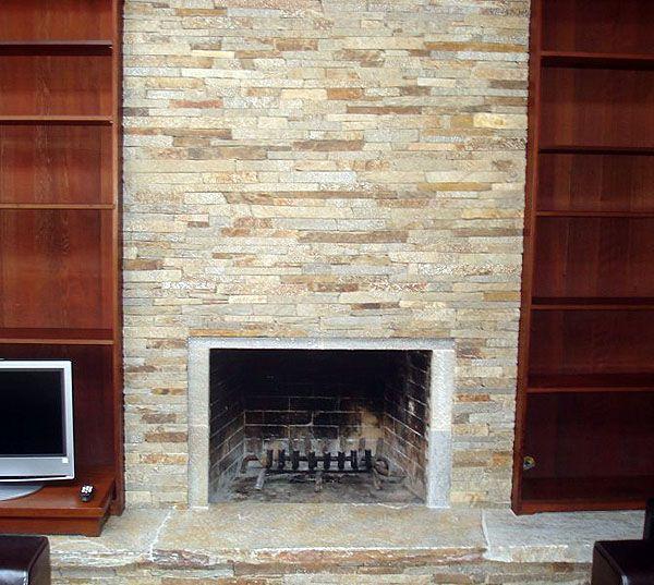 Ledger fireplace quartzite ledgestone fireplace mill for Bricks stone design