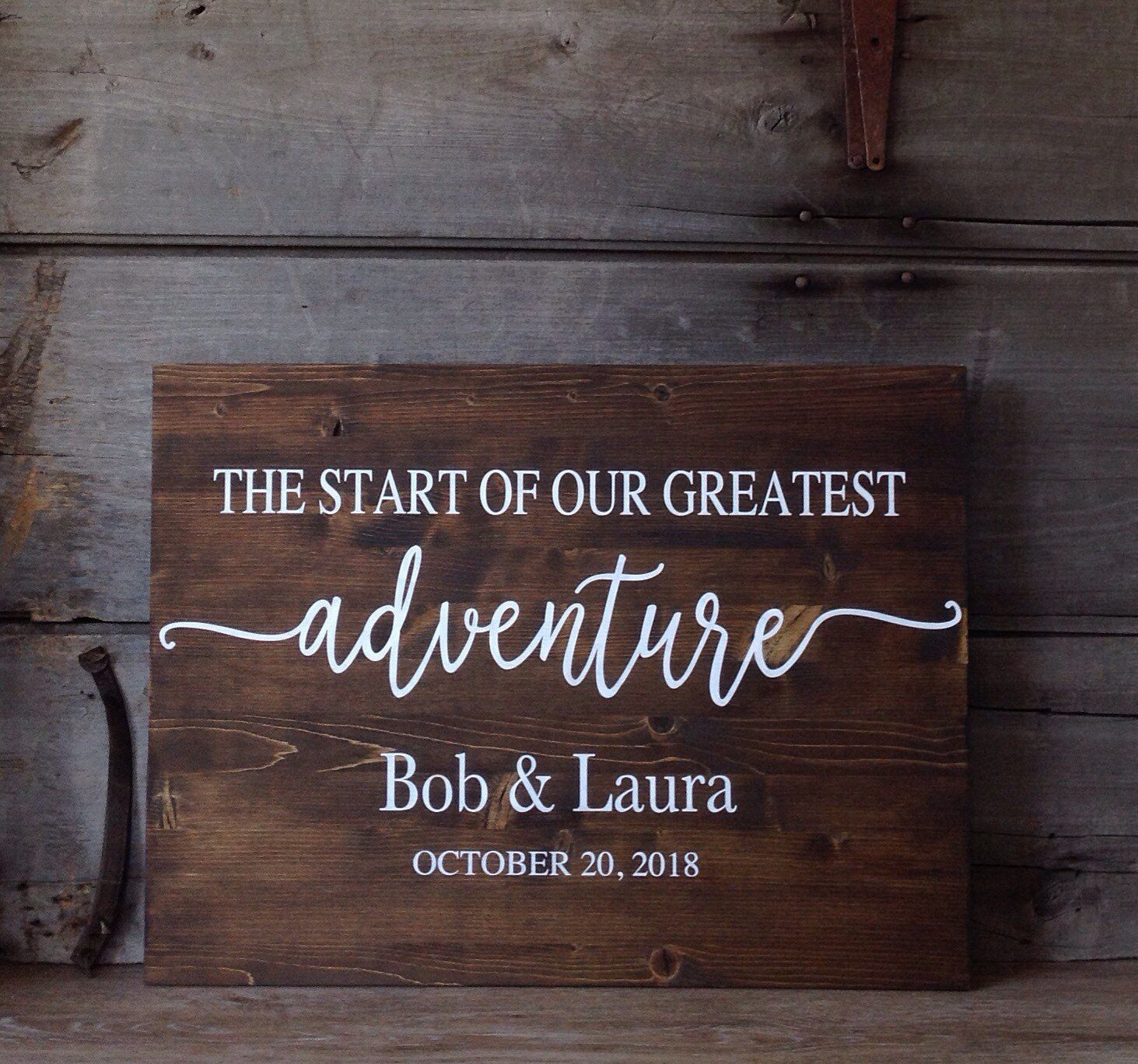Wedding Sign, The Start Of Our Greatest Adventure, Wood