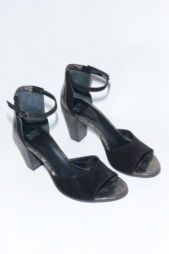 NOW Velour Heeled Sandal with Ankle Strap in Black