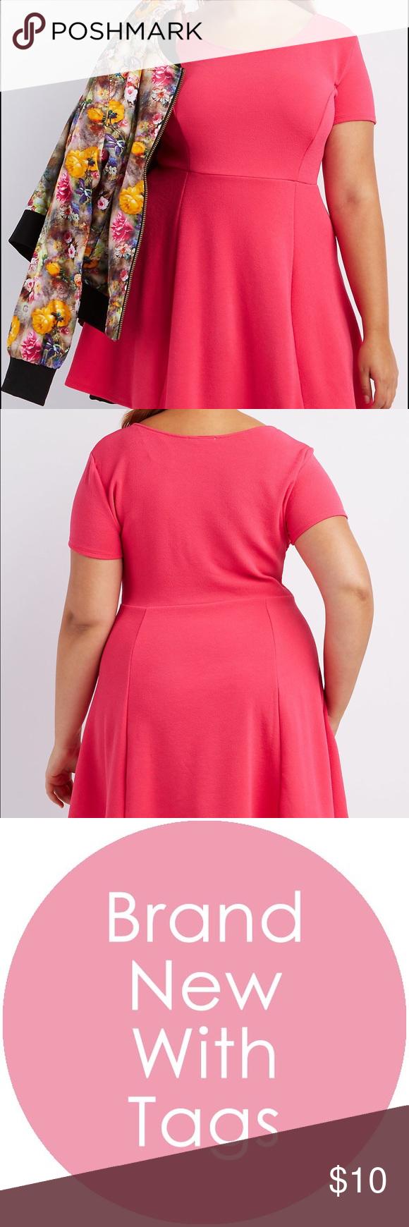 Hot pink and orange dress  Plus size Hot pink x Scuba Fabric Skater Dress NWT  My Posh Picks