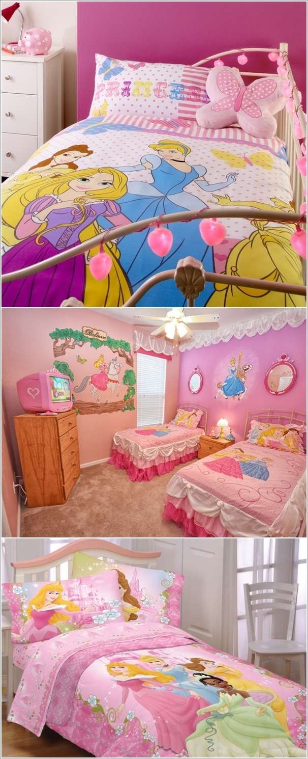 dress the beds with princess bedspreads  girls room decor