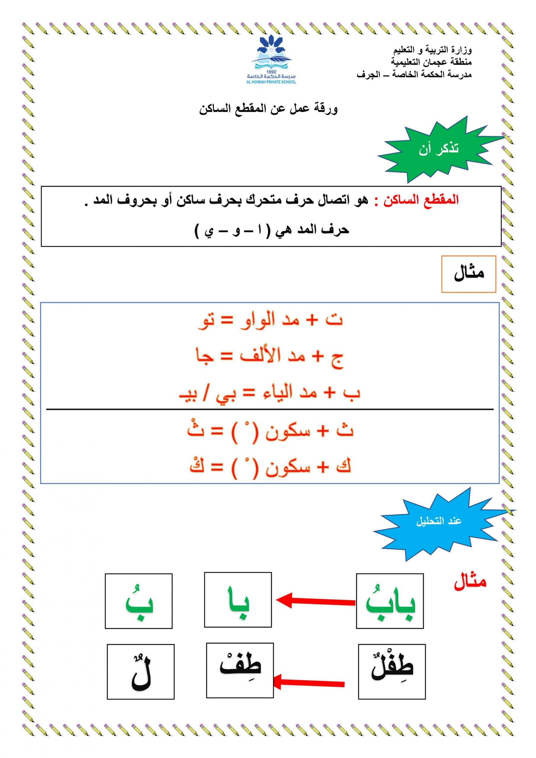 ورقة عمل درس المقطع الساكن الصف الأول مادة اللغة العربية In 2021 Words Word Search Puzzle Map