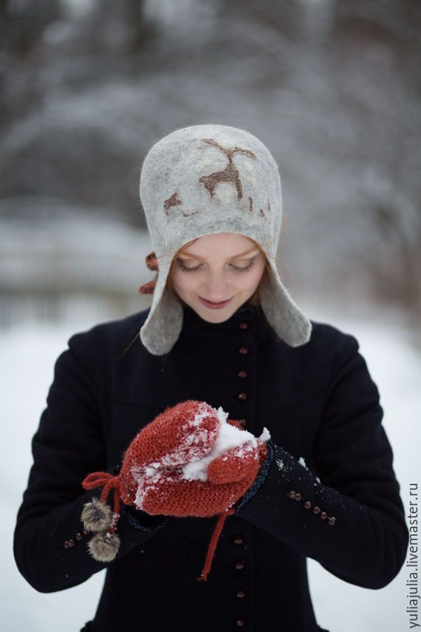 """Купить Шапка """"Петроглифы"""" - серый, шапка, шапка женская, шапка валяная, шапка зимняя, зима"""