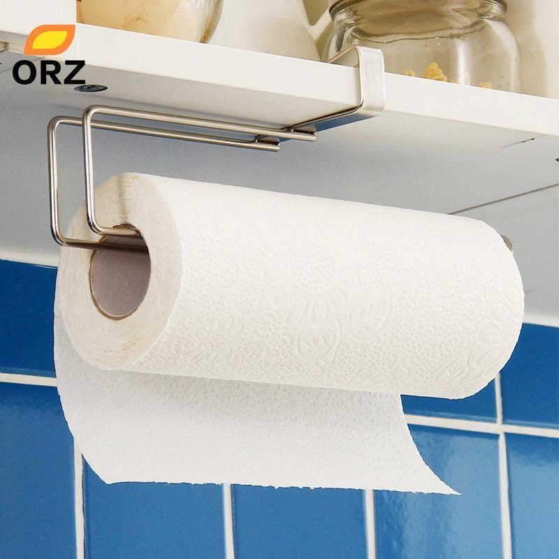 Kitchen Paper Holder Hanger Tissue Roll Towel Rack Bathroom Toilet Sink Door Hanging Organizer Storage Hook Holder R Towel Rack Bathroom Toilet Sink Towel Rack