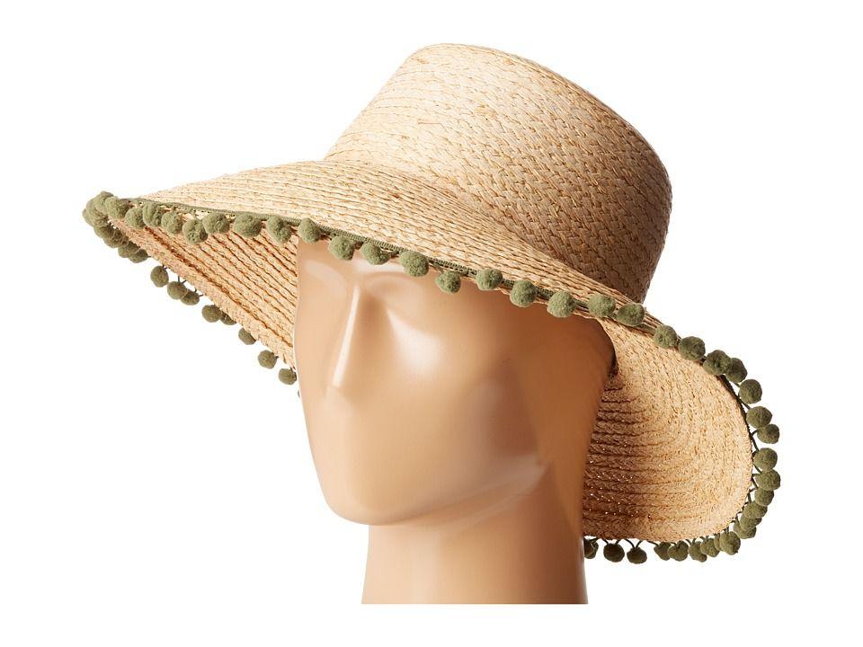 Hat Attack Hat Attack Pom Pom Fringe Lampshade Sun Hat Natural Olive Poms Caps Hatattack Sun Hats Hats Cowboy Hats