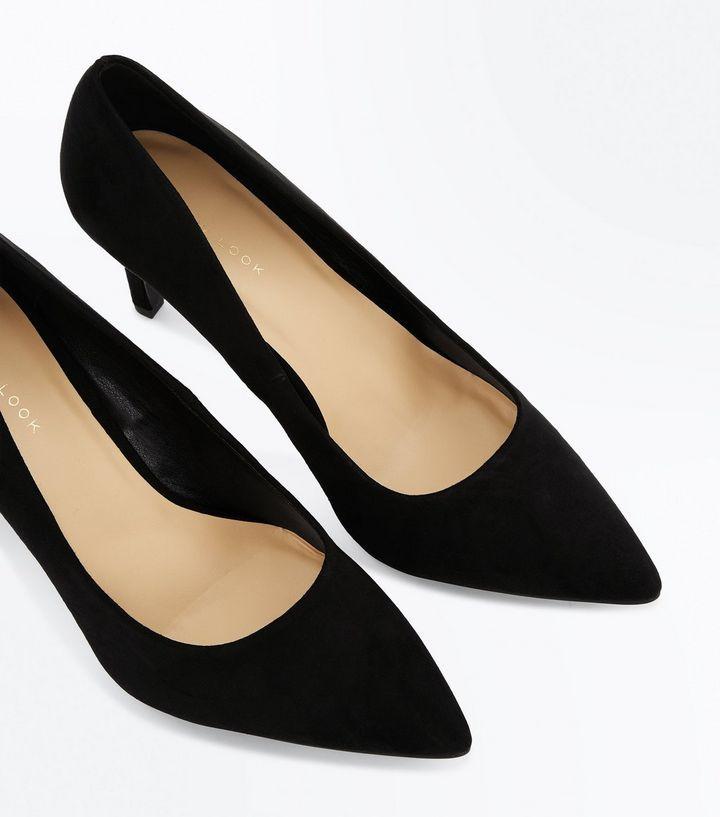 61c65332c1d Suedette Mid-heel Pointed Court Shoes - Black