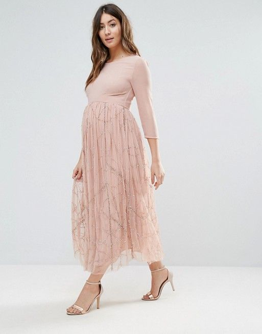 select for official popular stores hot sale online ASOS pink maternity wedding guest dress | Prego fashion in ...