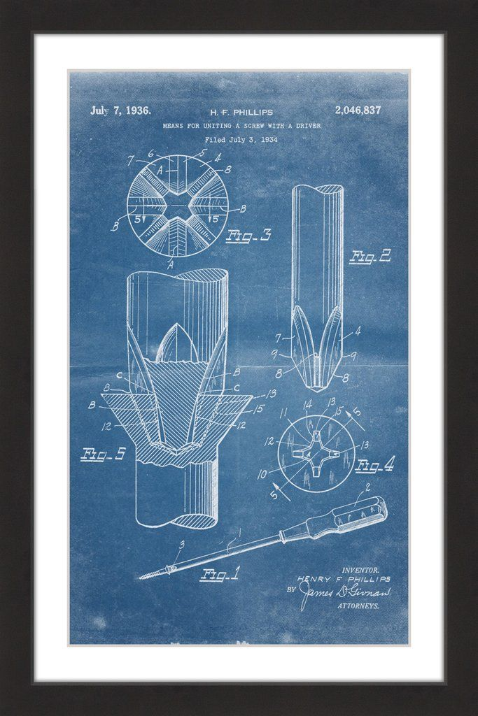 Screwdriver 1936 blueprint paper artwork giclee print and artwork screwdriver 1936 blueprint blueprint artpaper malvernweather Images