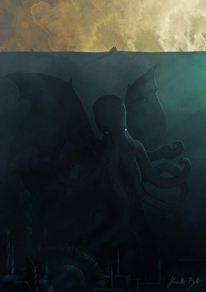 Here comes Cthulhu by Henriette Boldt Illustration. Ich wollte schon immer ein großes Unterwasserwesen malen. Endlich hab ich mir den Wunsch erfüllt. XD