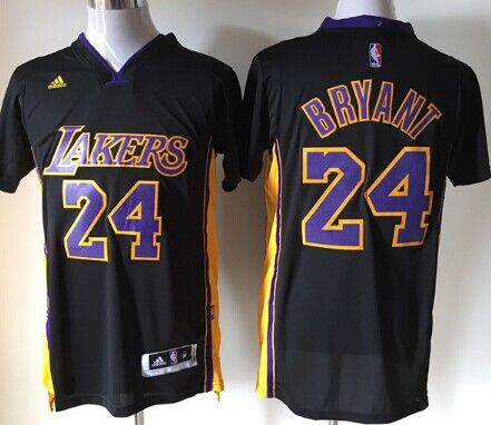 Los Angeles Lakers  24 Kobe Bryant Revolution 30 Swingman 2014 New Black With  Purple Short-Sleeved Jersey 1bff43a2c