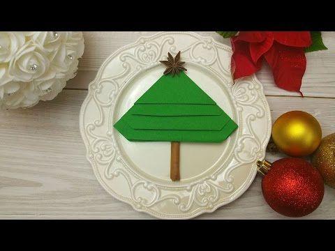 Napkin Folding Tutorial - Christmas Tree Napkin Fold - EASY ... | 360x480