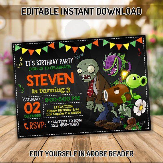 Plants Vs Zombies Invitation Birthday Party Invitation