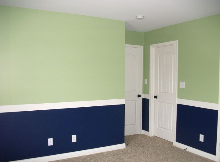 Faux Chair Rail Ideas Part - 23: Green And Blue Room With Faux Chair Rail. I Might Want To Paint Trentu0026 Room  Blue And Green Since Both Colors Have A Calming Effect
