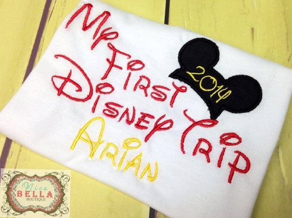 My First Disney Trip Personalized Mickey or Minnie Onesie T-shirt Embroidery  Clothing on Etsy