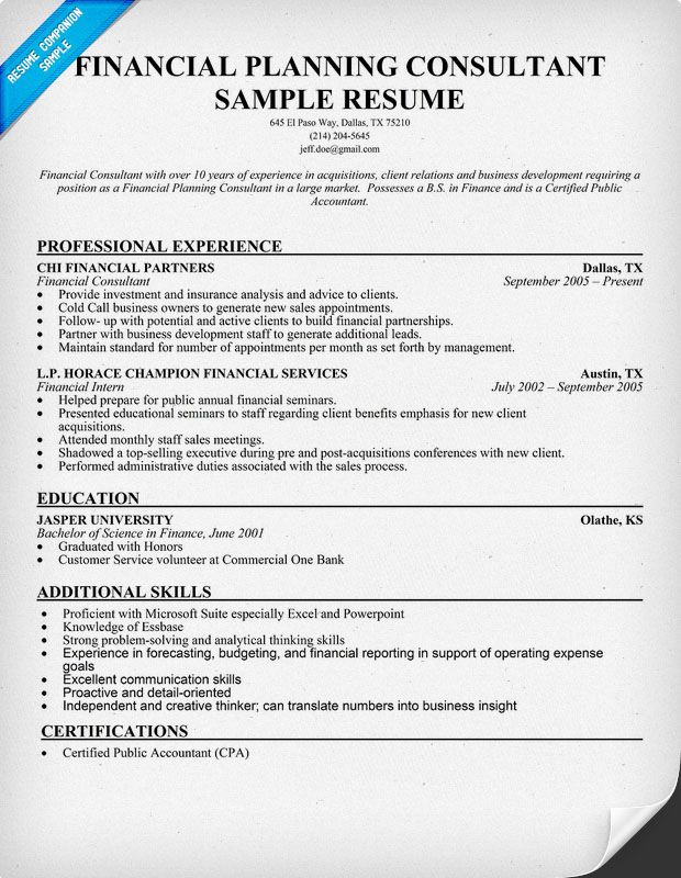Financial Planning Consultant Resume Sample